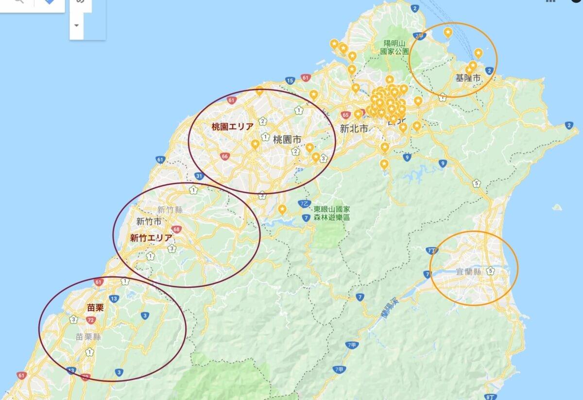桃園・新竹・苗栗 広域マップ